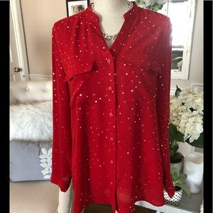 Kim Rogers Red Top With Silver